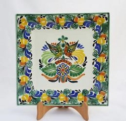 Mexican pottery mexican ceramic folk art Square Plate<br>Love Birds<br>Traditional Colors