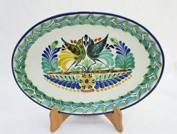 Mexican pottery mexican ceramic folk art Oval Plate<br>Love Birds<br>Green-Blue Colors