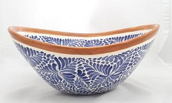 Mexican pottery mexican ceramic folk art Sink Oval Wave<br>Blue-Terracota