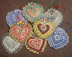 Mexican pottery mexican ceramic folk art Love Hear Ornaments