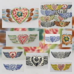 Mexican pottery mexican ceramic folk art Hear Ornament w/wings