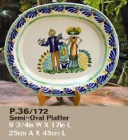 mexican pottery mexican ceramic folk art talavera Platter W/Couple Catrina