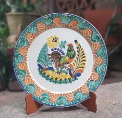 mexican ceramic mexican potttery folk art talavera Gorky Gonzalez Rooster<br>Flat Round Platter<br>Green Colors