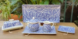 Mexican pottery mexican ceramic folk art Milestones Pattern Blue and White