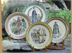 mexican pottery mexican ceramic folk art talavera Plates w/saints