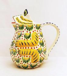 ceramic-pottery-water-pitcher-majolica-talavera-frog-shape-hand-painted-guanajuato-mexico