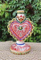 mexican+ceramics+pottery+love+heart+candle+holder+majolica+handp+ainted+mexico+amazon