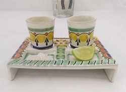 mexican+pottery+tequila+set+ceramics+folk+art+mexico+hand+painted
