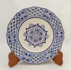 mexican-ceramic-plates-pottery-hand-painted-flower-pattern-talavera-majolica-table-decor-mexico-blue
