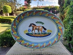 mexican-ceramic-platter-horse-motive-majolica-hand-made-mexico-serving-piece