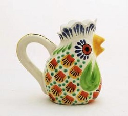 mexican-ceramic-pottery-folk-art-creamer-rooster-majolica-hand-made-mexico-tableware-garden-