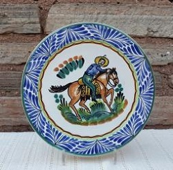 mexican-plates-ceramic-tableware-cowboy-motive-texas-traditions-majolica-hand-painted