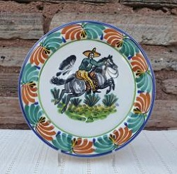 mexican-plates-ceramic-tableware-cowboy-motive-texas-traditions-majolica-hand-thown