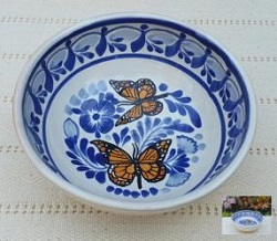 mexican-plates-cereal-soup-bowl-handcrafts-talavera-monarch-butterfly-mexico