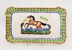 mexican-platter-tray-horse-motive-majolica-hand-made-mexico-serving-piece