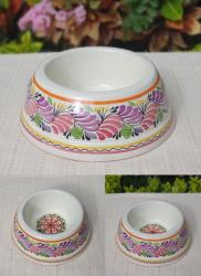 mexican-pottery-ceramic-dog-bowl-hand-painted-purple-majolica-hand-made-mexico