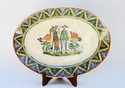 mexican-pottery-decorative-oval-platter-serving-ceramic-catrina-couple-halloween-day-of-dead-mexican-traditions-hand-made-mexico