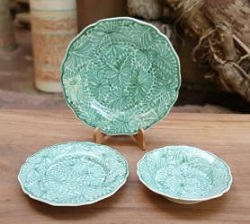 mexican-pottery-dish-set-flower-dinnerware-majolica-mexico