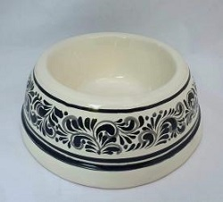 mexican-pottery-hand-thrown-majolica-hand-made-mexico-dog-bowl-black