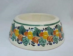 mexican-pottery-hand-thrown-majolica-hand-made-mexico-dog-bowl-multicolors