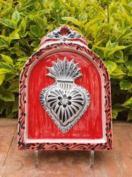mexican-pottery-home-decor-majolica-mexico-red-blue-heart-altarpiece-wall