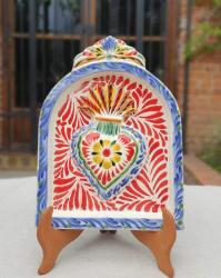 mexican-pottery-home-decor-majolica-mexico-red-heart-altarpiece-wall
