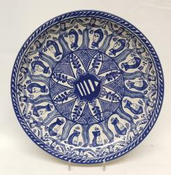 mexican-wall-platters-hand-painted-hand-wheel-folk-art-blue-talavera-majolica-faces-pattern-gorky-workshop