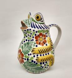 mexican-water-jar-pottery-frog-ceramic-majolica-hand-made-mexico-tableware-talavera