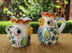 mexico-ceramics-pottery-rooster-creamer-and-sugar-set-majolica-hand-painted-mexico