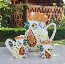 mexico-ceramics-pottery-rooster-creamer-and-sugar-set-water-pitcher-majolica-hand-painted-mexico