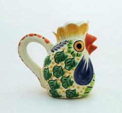mexico-ceramics-pottery-rooster-creamer-pitcher-majolica-hand-painted-mexico