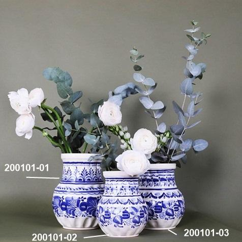 mexican ceramic blue flower vases handcrafts mexico momday